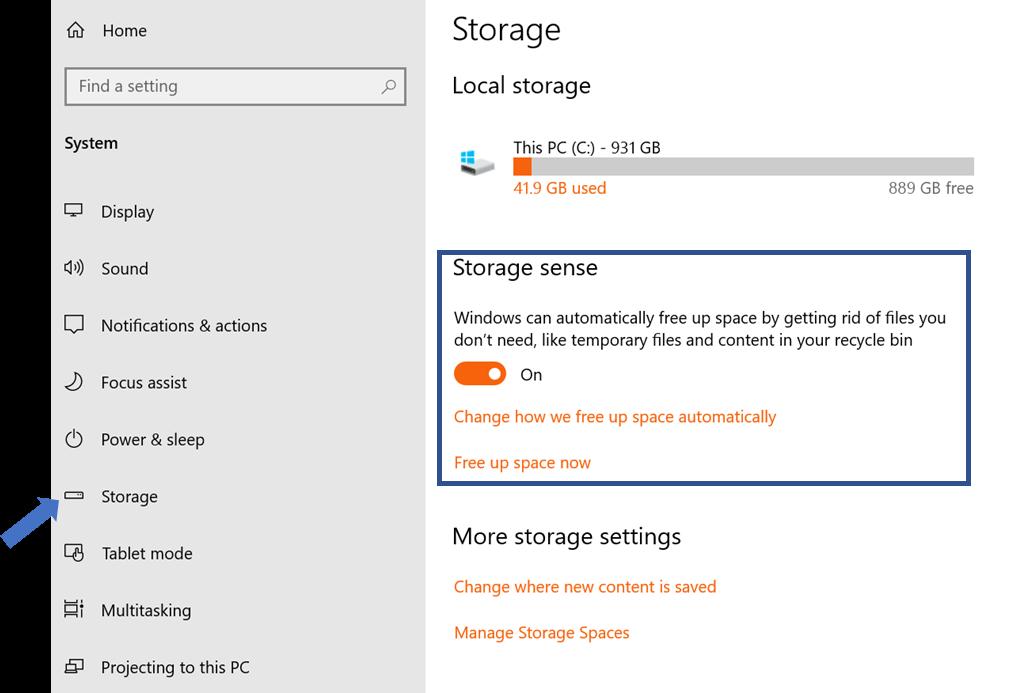 what is win 10 storage sense