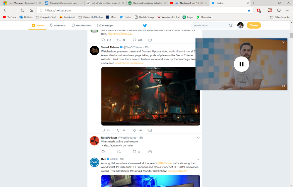 Using PIP to watch TechLinked while browsing Twitter