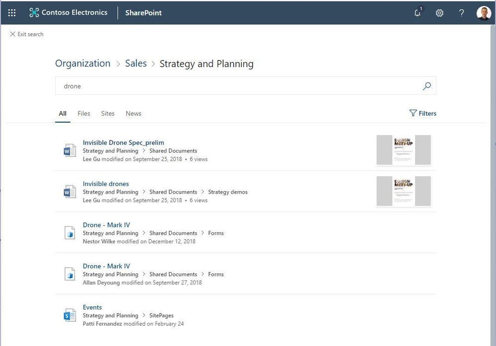 Searching in a site will show results from that site (Strategy and Planning), with a control to expand the search scope to the hub (Sales) or the whole organization