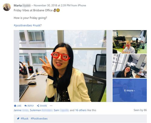 Fun photos in a Yammer post - NEXTDC
