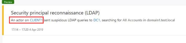 Figure 7 - Azure ATP alert on suspicious enumerations