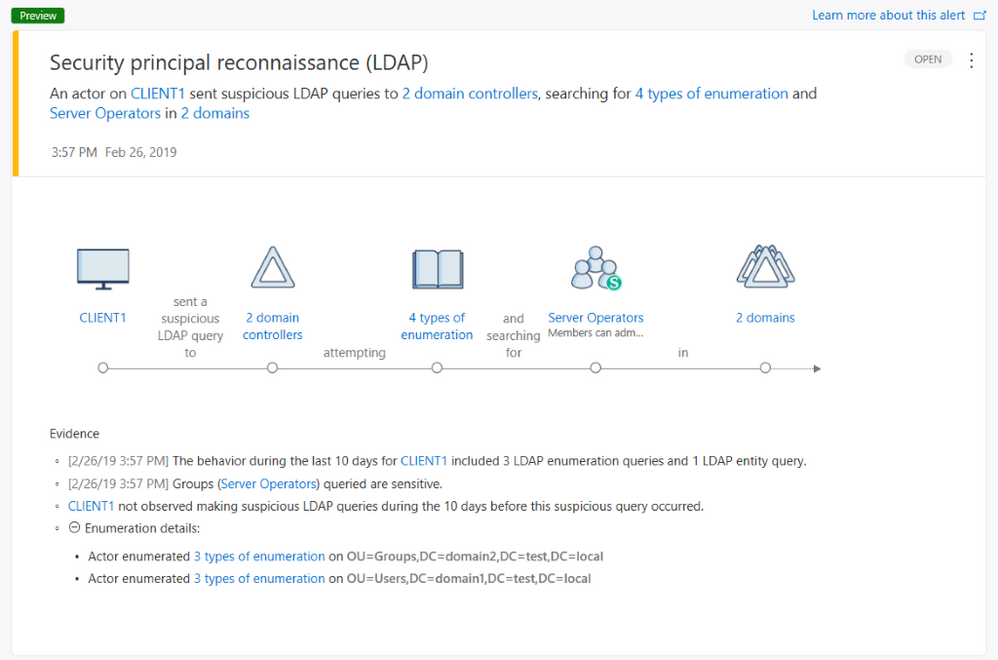 Figure 2 - Azure Advanced Threat Protection Security principal reconnaissance (LDAP) alert