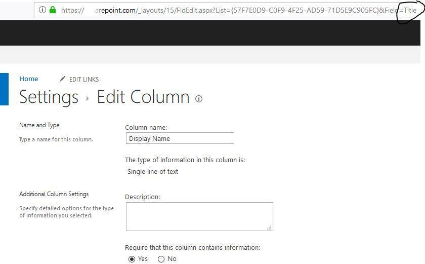 Display Name Column - title