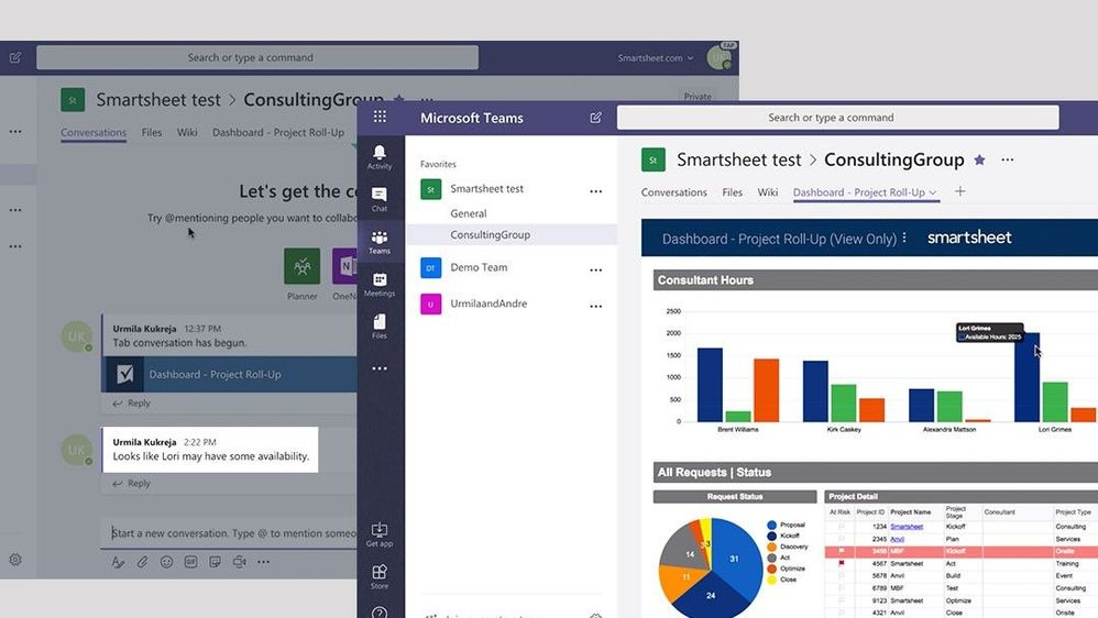 Smartsheet users can access their dashboard and other features in Teams.