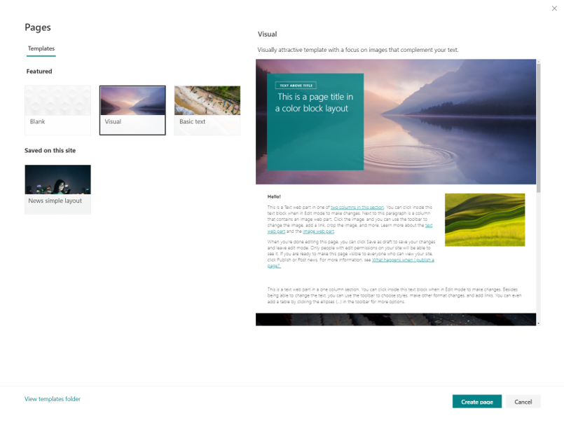 Figure 3 SharePoint page templates