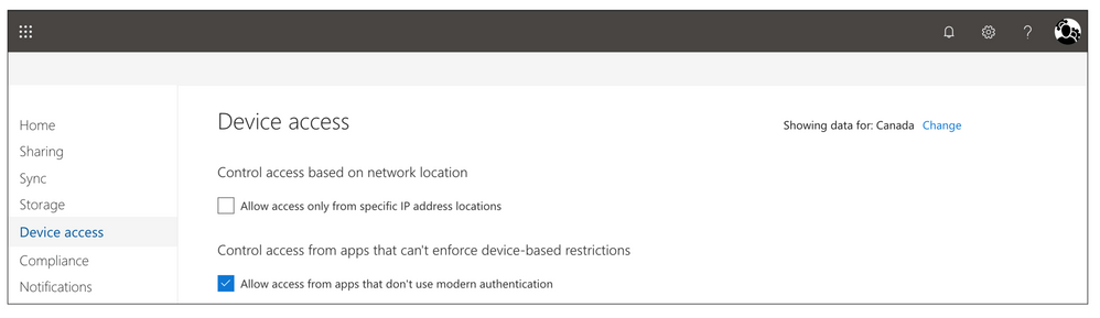 Admin controls on device access in the OneDrive admin center.
