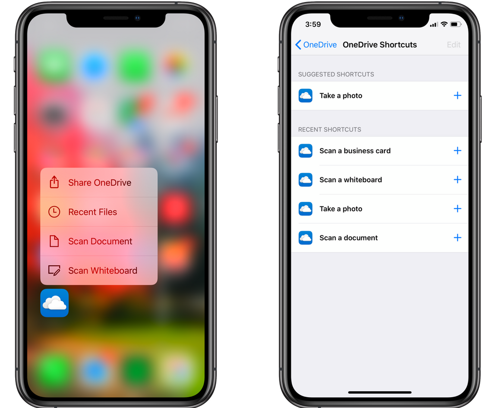 OneDrive shortcuts for iOS. Scan or take a photo with Siri.