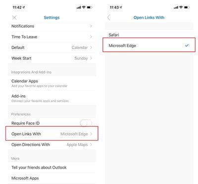 Set default browser in Outlook settings