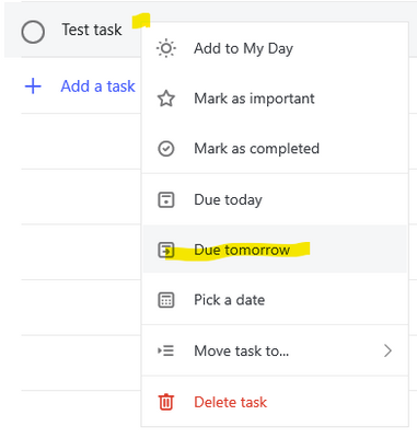 Picking due date directly from list view by right-clicking