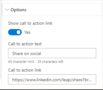 Configuring a call to action link