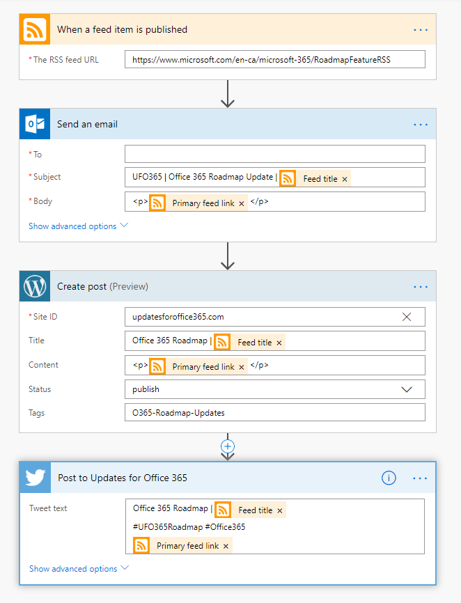 Example Flow for O365 Roadmap