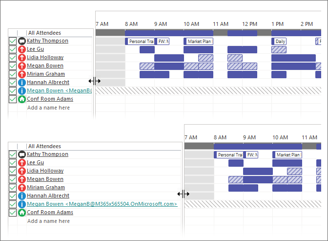 Scheduling Assistant with expanded Attendee List
