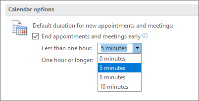 Option to set the default duration to end meetings early