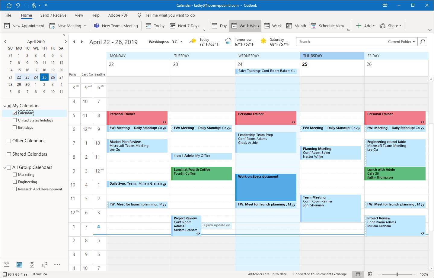 Outlook calendar tracking not updating