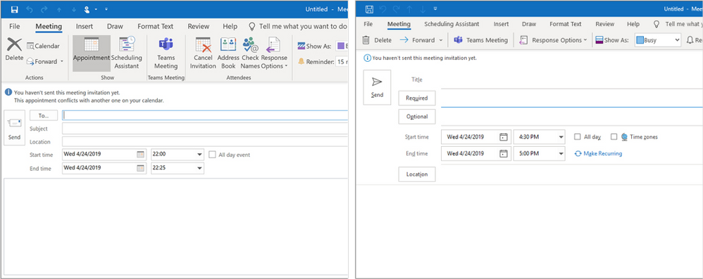 Former and new Meeting form with separate Required and Optional fields