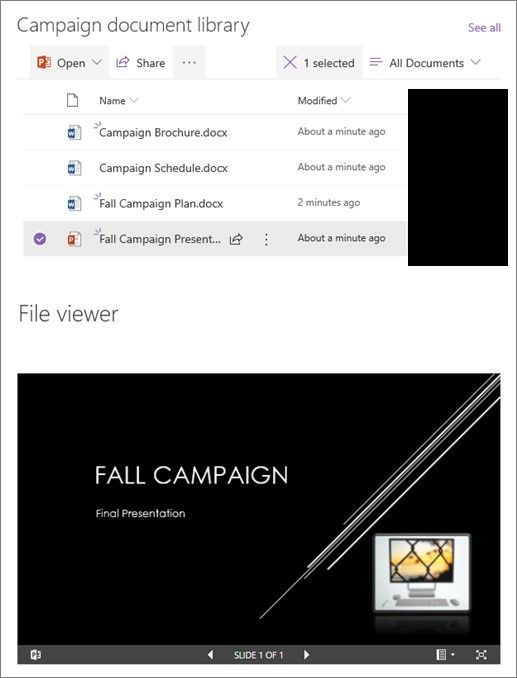 You can browse through a library of campaign documents, click on files, and see the content in a selected file without leaving the page, and without having to open each file.