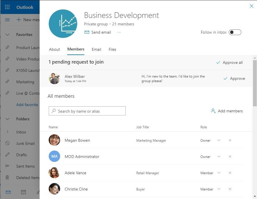 When you expand into the Office 365 group card (on-hover), you'll see more information about the group, and have the ability to search for member, renew the group, and approve pending members.