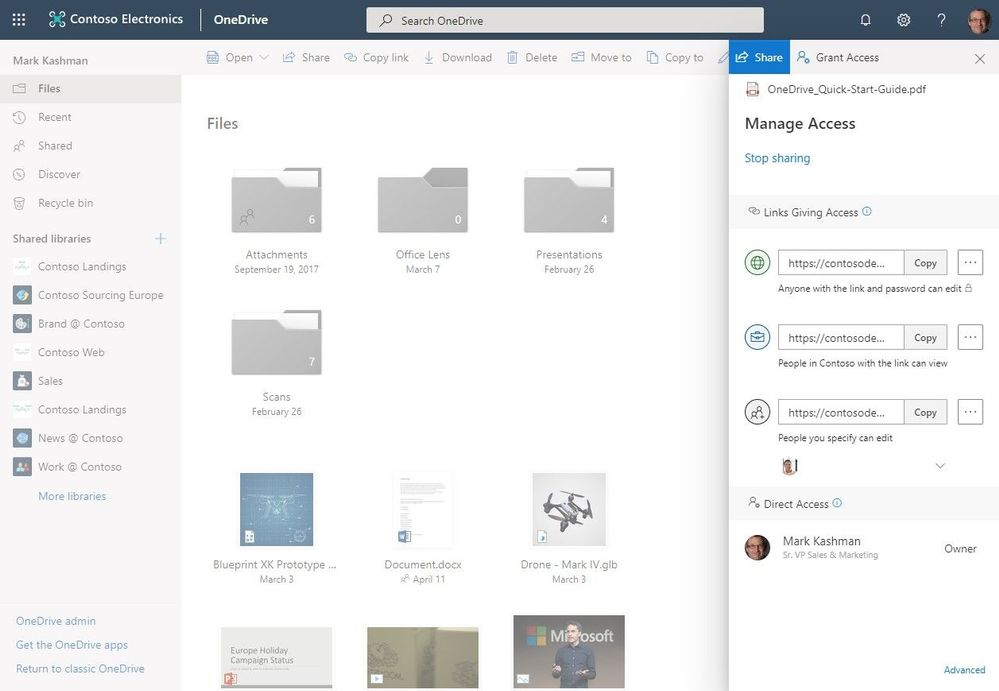 Manage access permissions, remove individual recipients from shared links or stop sharing overall - all now working within the OneDrive classic user interface.