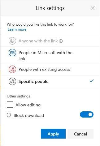 """You can now choose to block download when creating sharing links to """"Specific people."""""""
