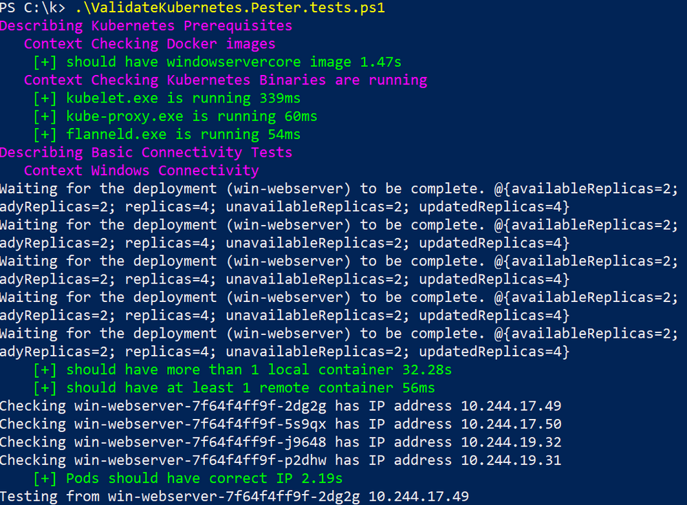 Snippet from Kubernetes Connectivity Test Suite