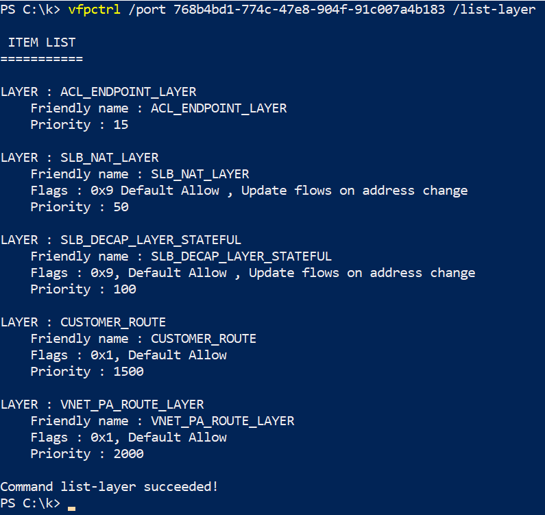 Listing VFP layers for a given container vPort