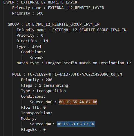 Reference EXTERNAL_L2_REWRITE_LAYER with rules transposing a container MAC to a host MAC