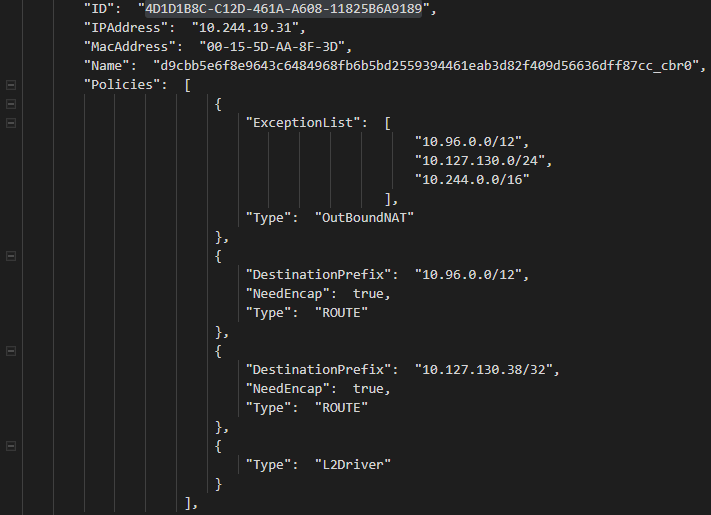 Example pod DIP endpoint referenced by a HNS Loadbalancer