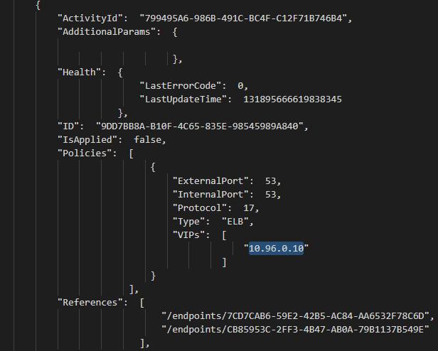 HNS LoadBalancer object representing kube-DNS service