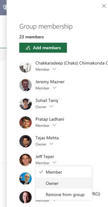 Group membership management panel