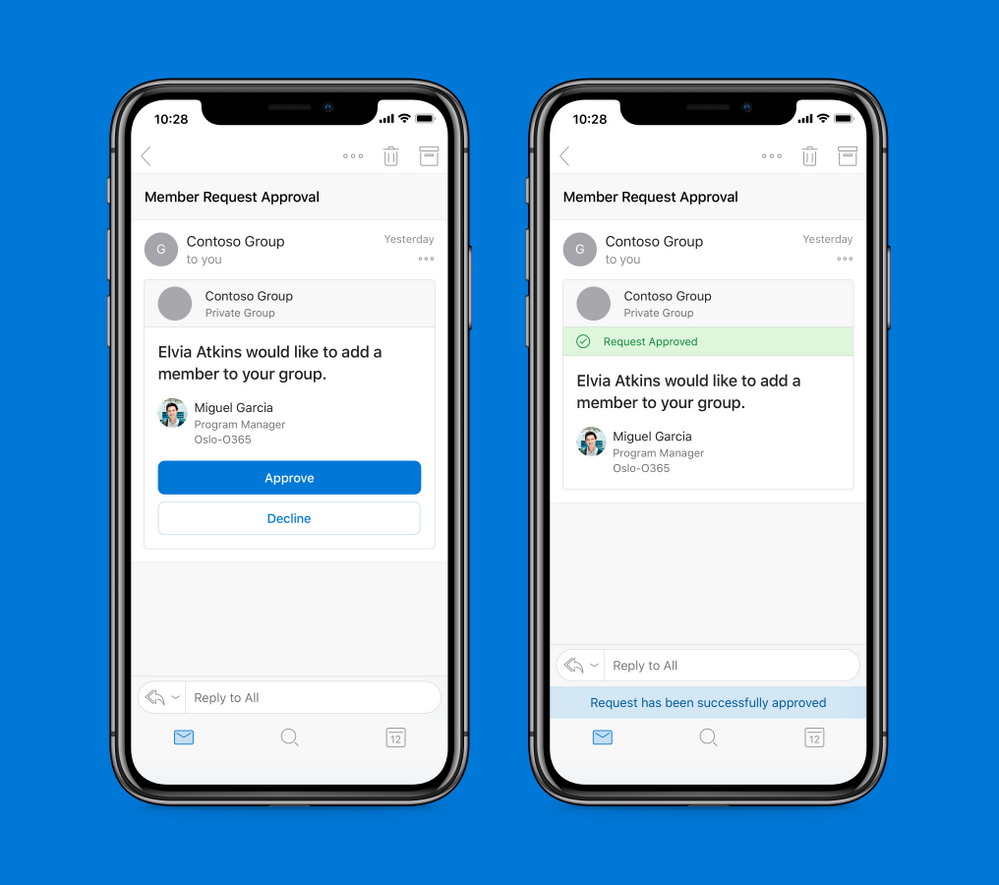 Office 365 Groups: Actionable Message to approve adding members to groups in Outlook mobile