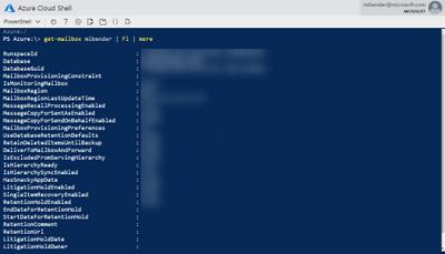 Lising a mailbox in Azure Cloud Shell using Get-Mailbox