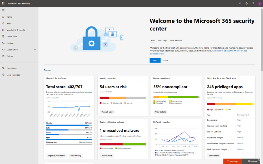 2019 - Blog 02 - A new home for an all-new look for Microsoft Secure Score - Final - Image 01.png