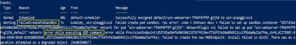 Example error due to misconfigured CNI config