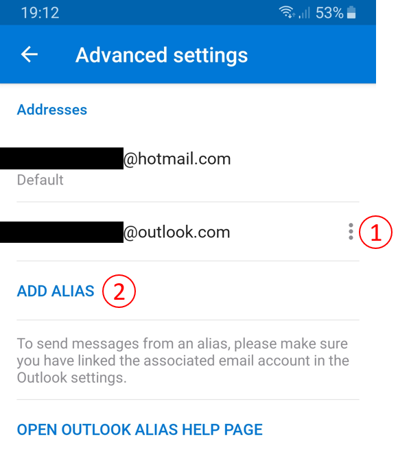 Outlook for Android Advanced settings ADD ALIAS - Microsoft Tech Community  - 575921