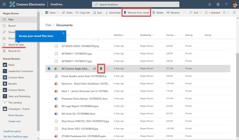 """Select a file and click the bookmark """"Save for later"""" icon on the item or up in the library action bar. The item will then appear in the """"Saved for later"""" view on the main OneDrive user interface (UI)."""
