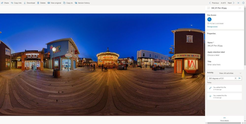 Interact with 360-degree image .jpg previews inside OneDrive in Office 365, alongside it's file information, activity and comments.