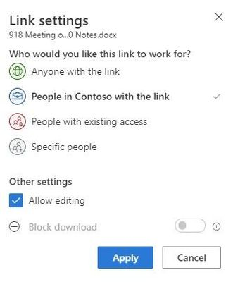 This is the common sharing experience pop-up you see in OneDrive, Office desktop and mobile apps, SharePoint document libraries, Microsoft Teams, desktop Windows Explorer and Mac Finder.