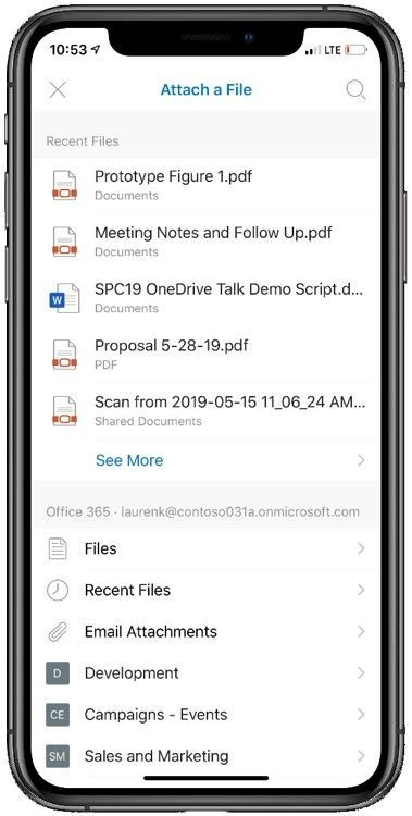 See recent files, your files, frequent shared libraries when attaching a file (sharing a link) from Outlook mobile.