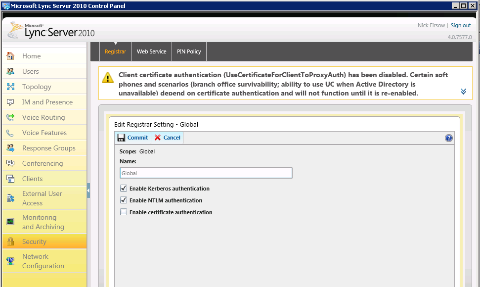 Certificate Authentication in Lync Server 2010 and