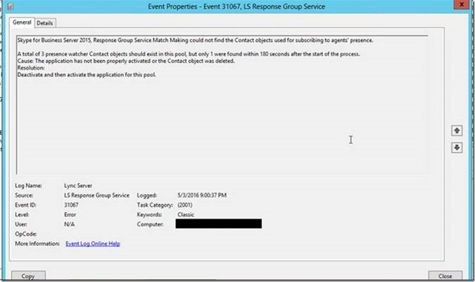After an in-place upgrade to Skype for Business Server