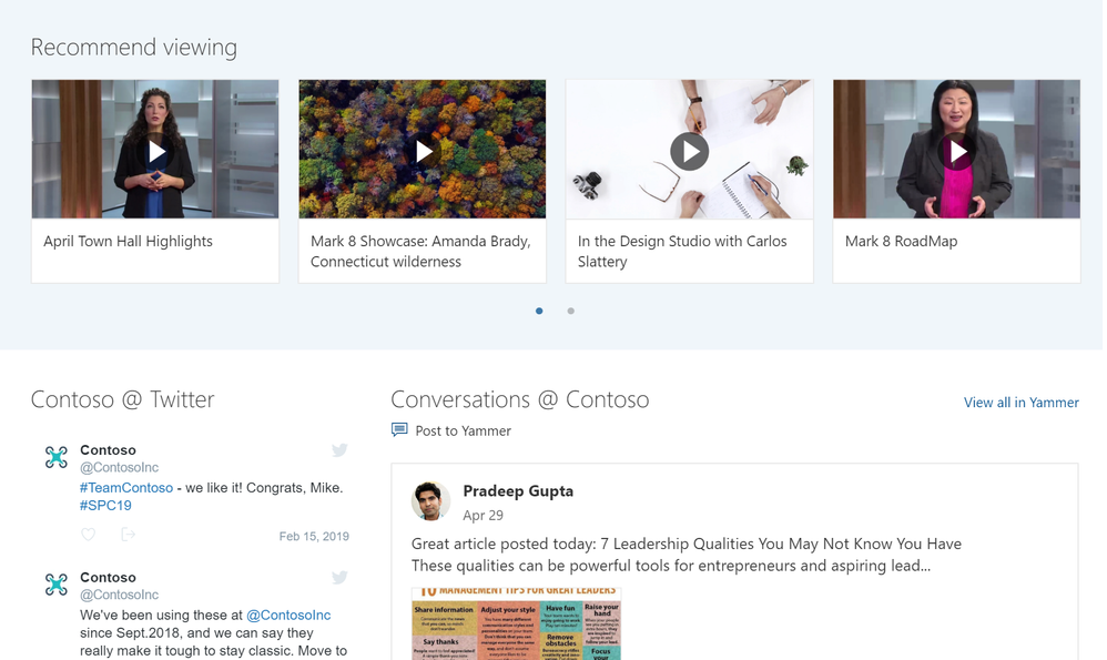 It's easy to embed rich video from Microsoft Stream, conversations from Microsoft Yammer, or other social