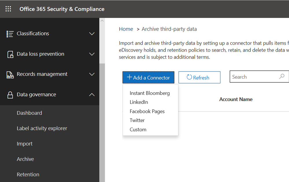 Now natively import third-party data for archival and compliance purposes.