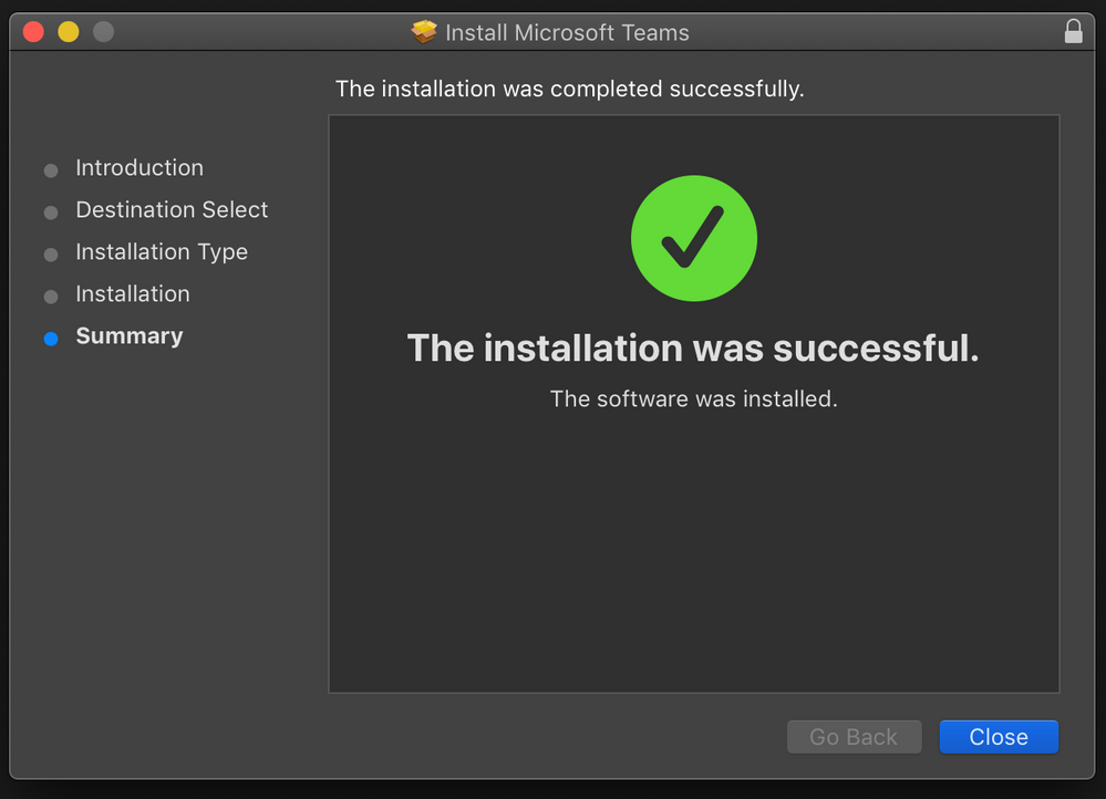 The installation appeared to be successful