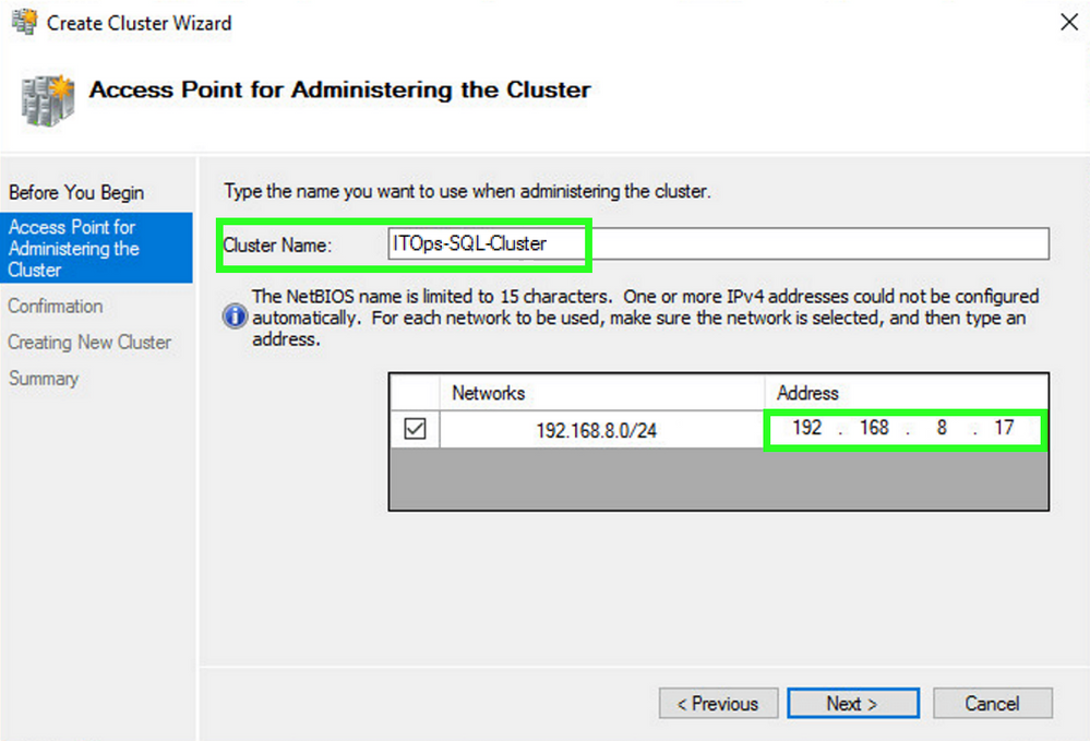 Create Cluster Wizard: Access Point for Adminstrating the Cluster