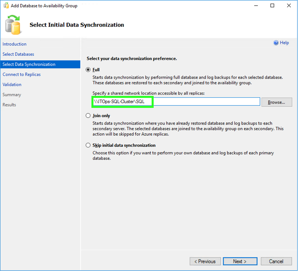New Availability Group: Select Initial Data Synchronization