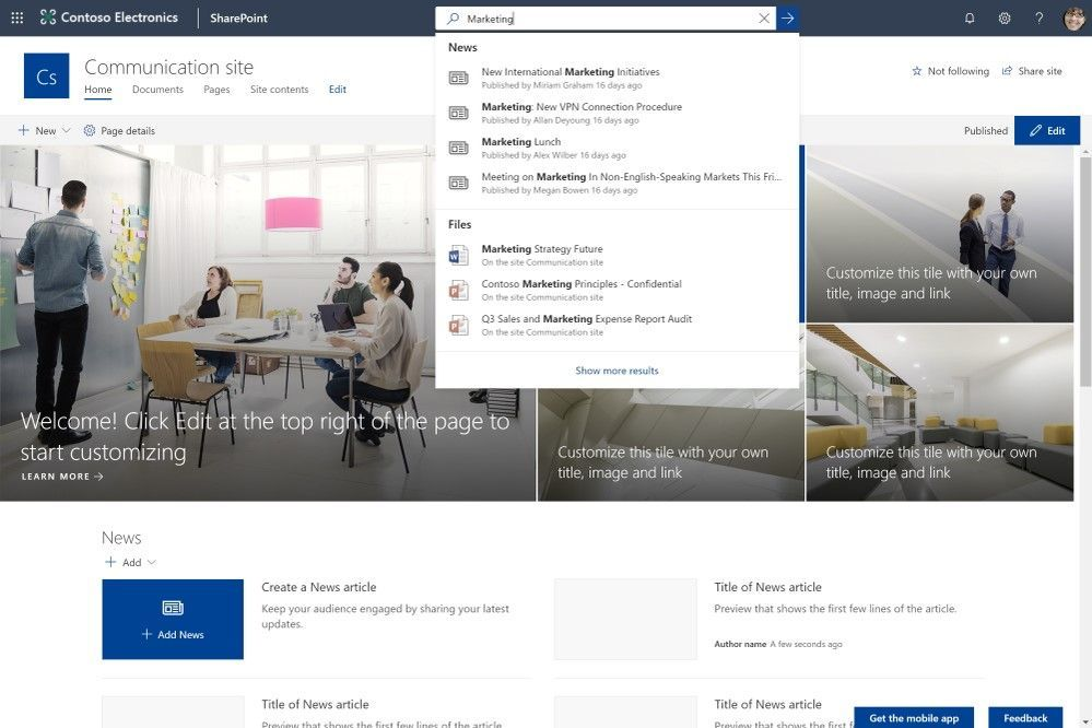 Microsoft Search in SharePoint is featured prominently in the header, which puts contextually relevant, personalized information at your fingertips.