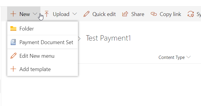 4. Content types under the document set is now shown