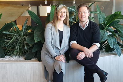 Emma Harrington, Chief Customer Officer, and Pete Johns, Digital Employee Experience Manager, in the NRMA Office at Sydney Olympic Park, Australia