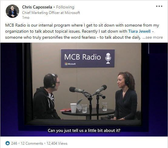 A live MCB Radio video broadcast captures and shares Chief Marketing Officer Chris Caposella's real-time conversation with employee Tiara Jewell (right) about her personal journey and insights.